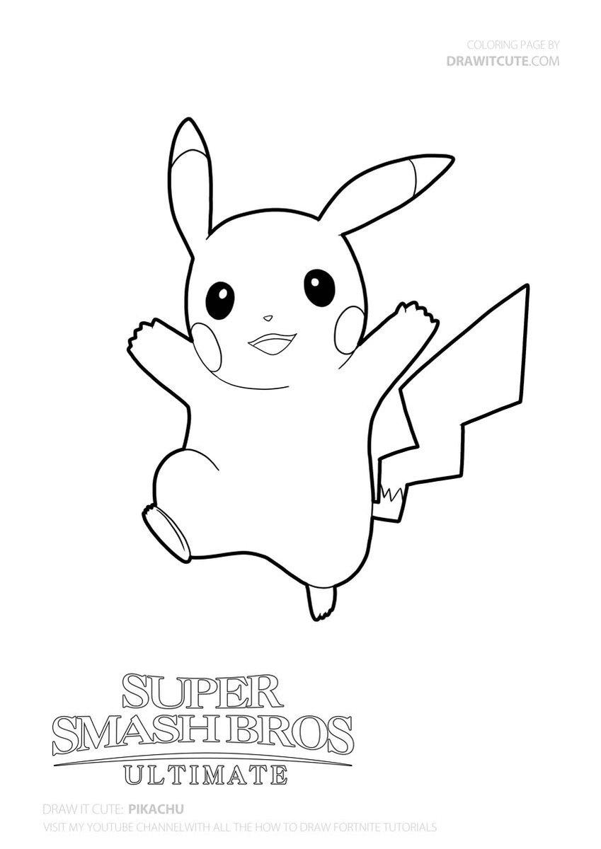 Pikachu Pokemonart Smashbrosultimate Coloringpages Fanart Cute Coloring Pages Giraffe Coloring Pages Pokemon Coloring Pages