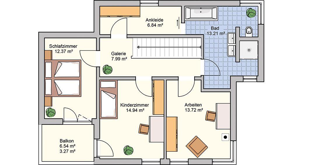 Grundrissplanung Obergeschoss Haus Ligno fertighaus