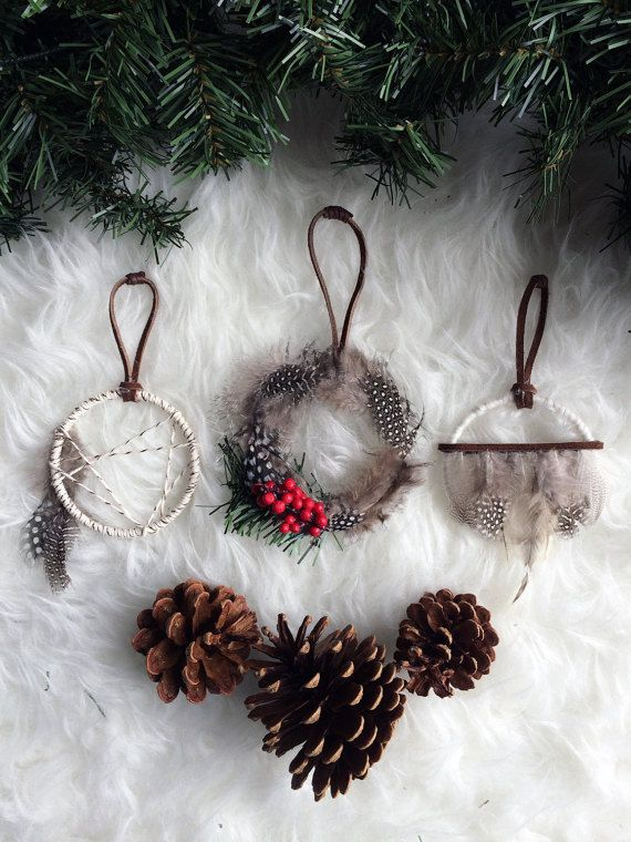 Bohemian Christmas Ornament Set - Rustic Gift Topper - Holiday Gifts for Friends - Mini Dreamcatchers - Boho Christmas Tree Decoration