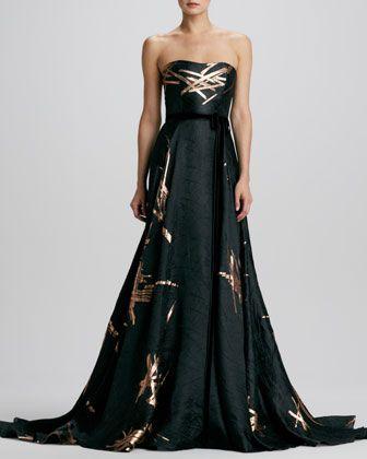 Strapless Twig Jacquard Ball Gown By Carolina Herrera At Neiman