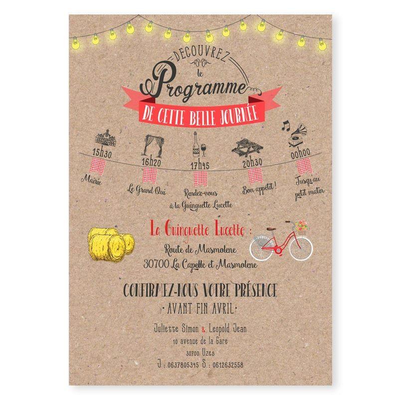 faire-part mariage ambiance guinguette guirlandes et fanions vichy vélo original program ...
