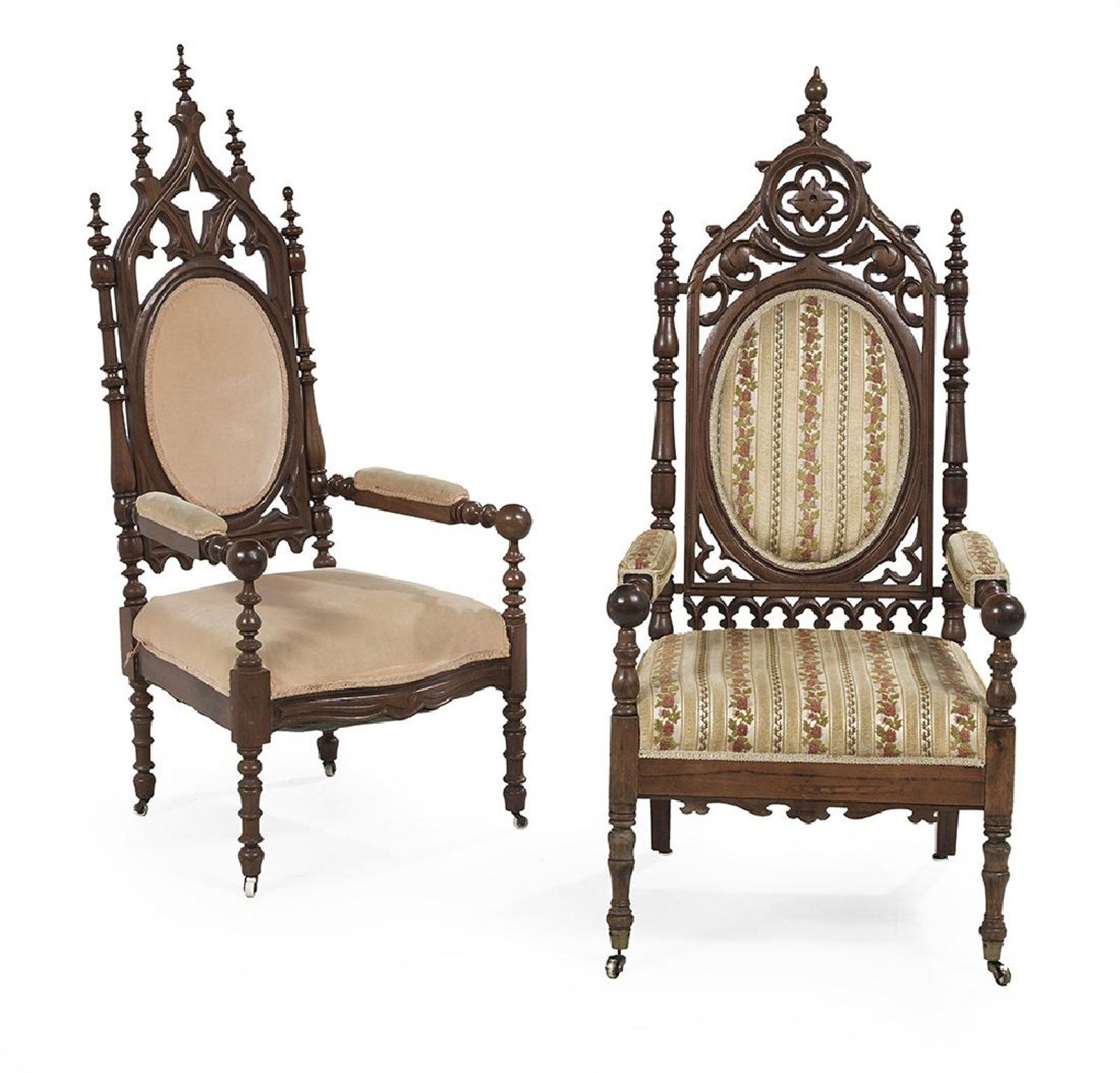 Two American Gothic Revival Walnut Armchairs mid 19th century
