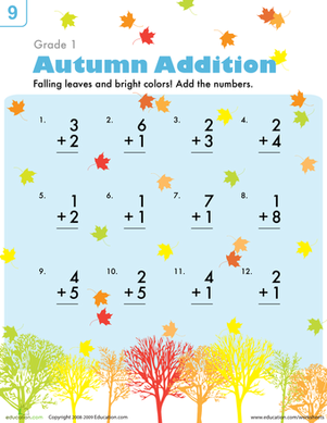 Addition Worksheets » Fall Addition Worksheets First Grade ...