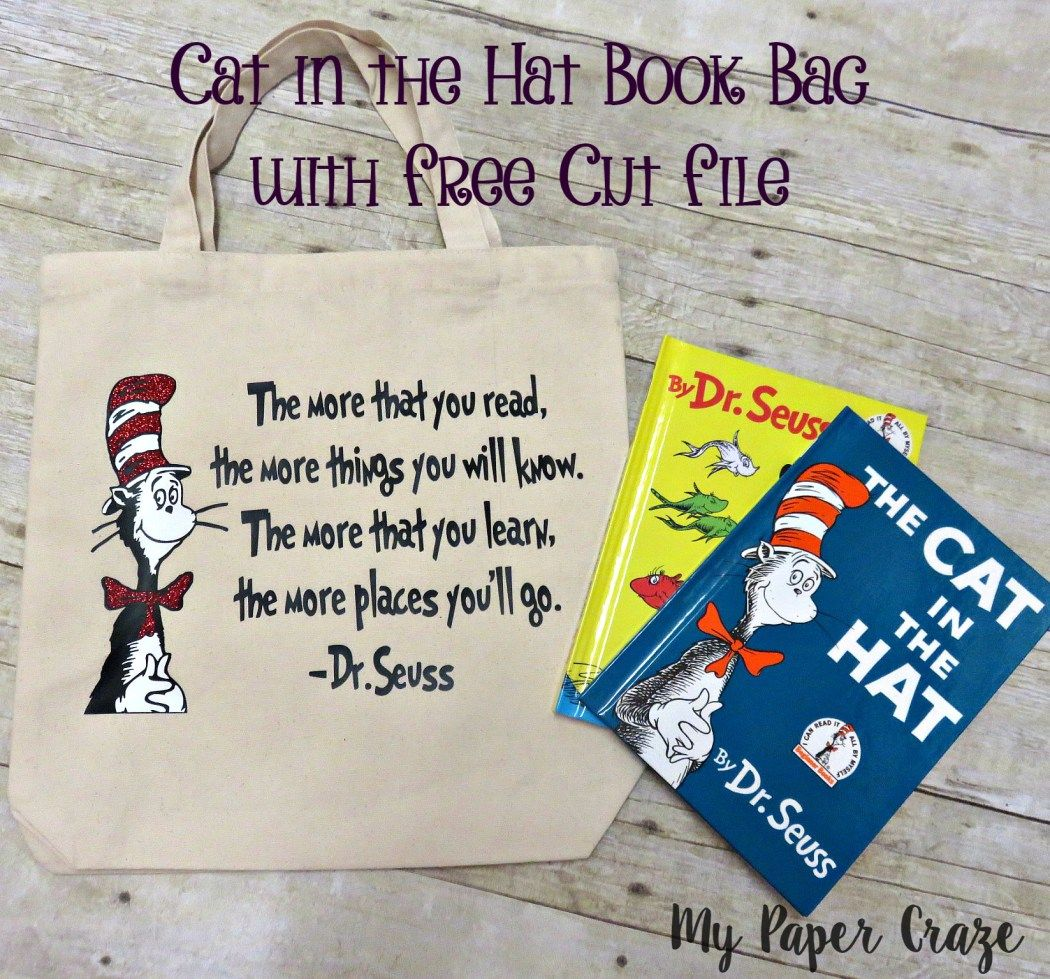 Cat in the Hat Book Bag with FREE CUT FILE - My Paper Craze