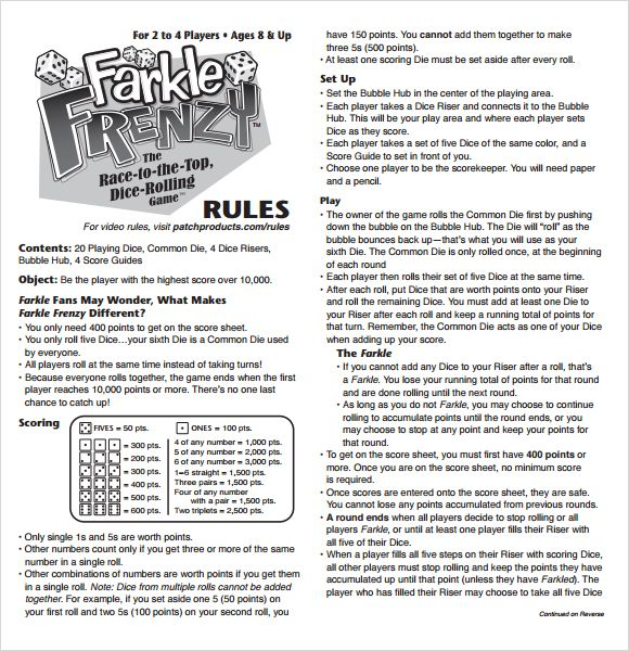 Farkle Score Rules Sheet  Cards    Scores Gaming And