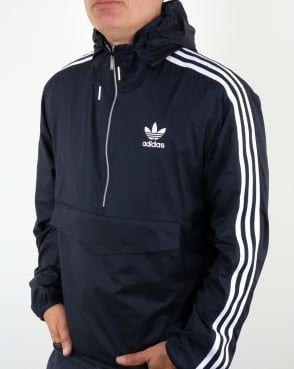 d61596892ed6 Adidas Originals Half Zip Pouch Pocket Jacket Navy