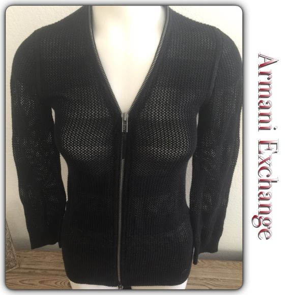 Armani Exchange Black Cardigan Excellent pre owned condition Size medium Zipper goes all the around neckline Armani Exchange Sweaters Cardigans