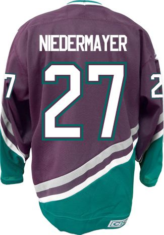 2897fb810 Anaheim Mighty Ducks VINTAGE Scott NIEDERMAYER  27  C  Official CCM Purple  Throwback Premier