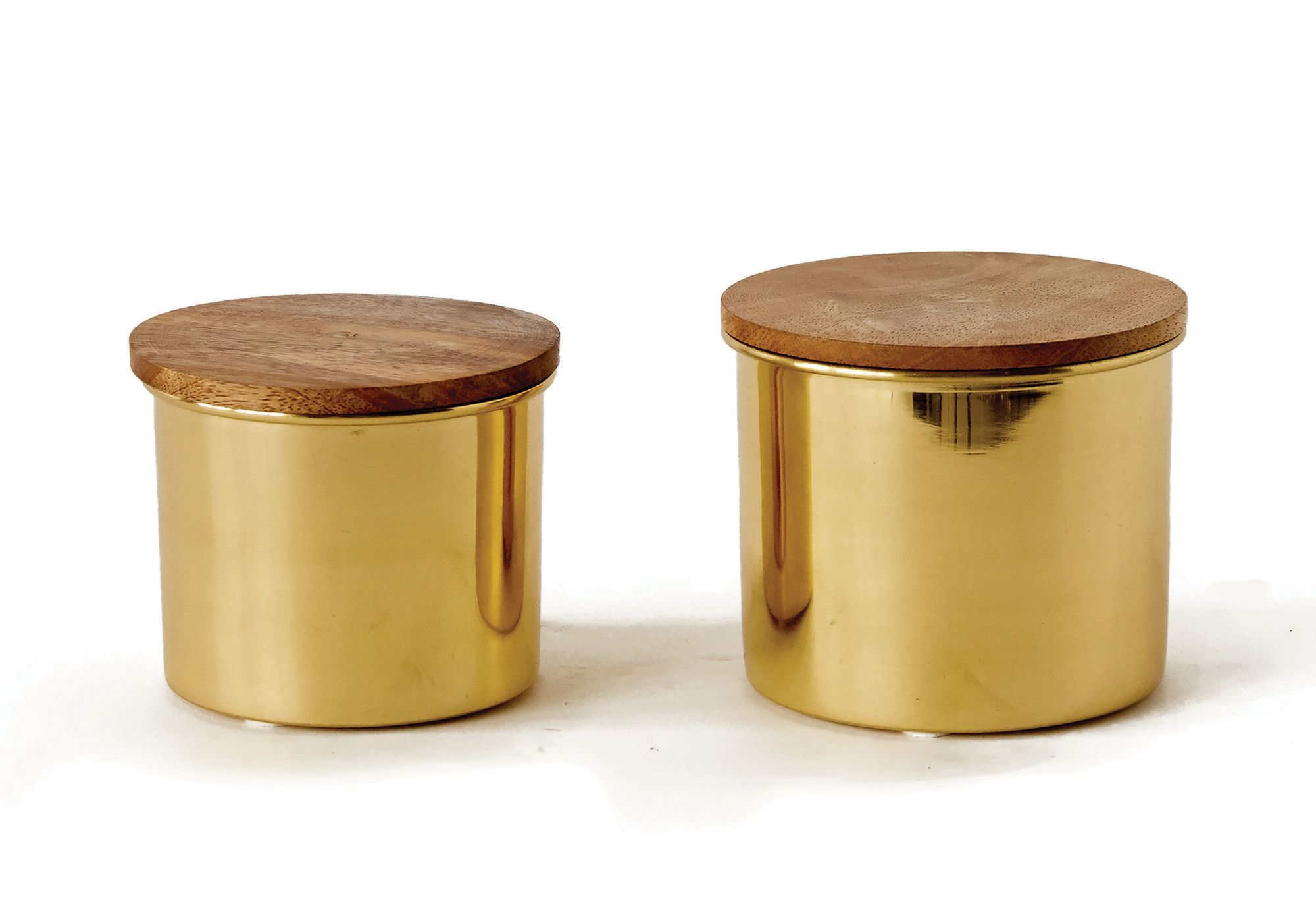 Palmfauna piece round metal canisters with mango wood lid