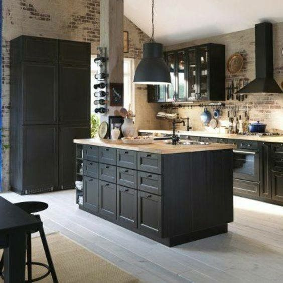 Grey Kitchen Island With Sink Across From Stove Freestanding Pantry On The North Side Kitchen Design Home Kitchens Black Kitchen Cabinets