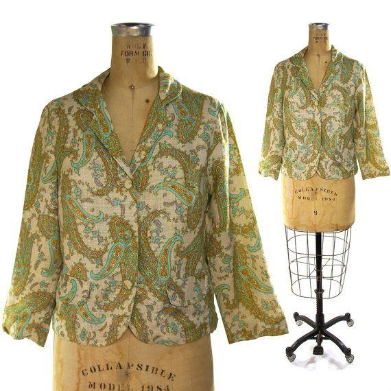 70s Printed Linen Blazer / Paisley Jacket in Aqua by SpunkVintage, $46.00