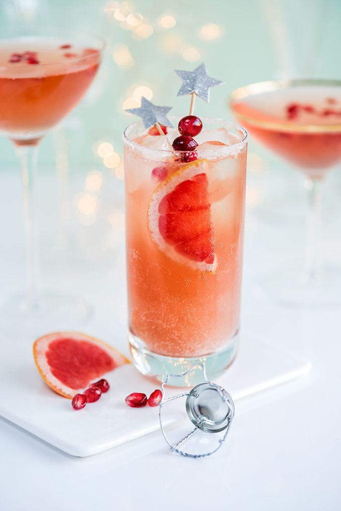 New Year's Eve Cocktails: the Sparkling Paloma and French Kiss - perfect for getting the party started!