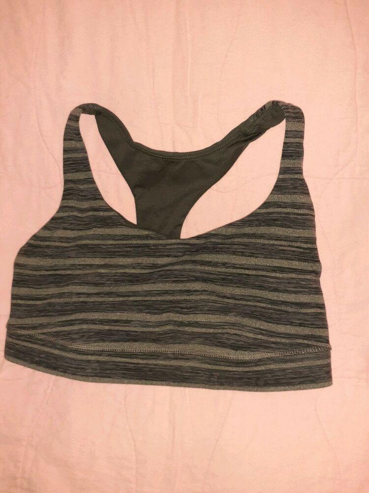 Lululemon Gray Striped Bra Workout Sz 8 Lululemon