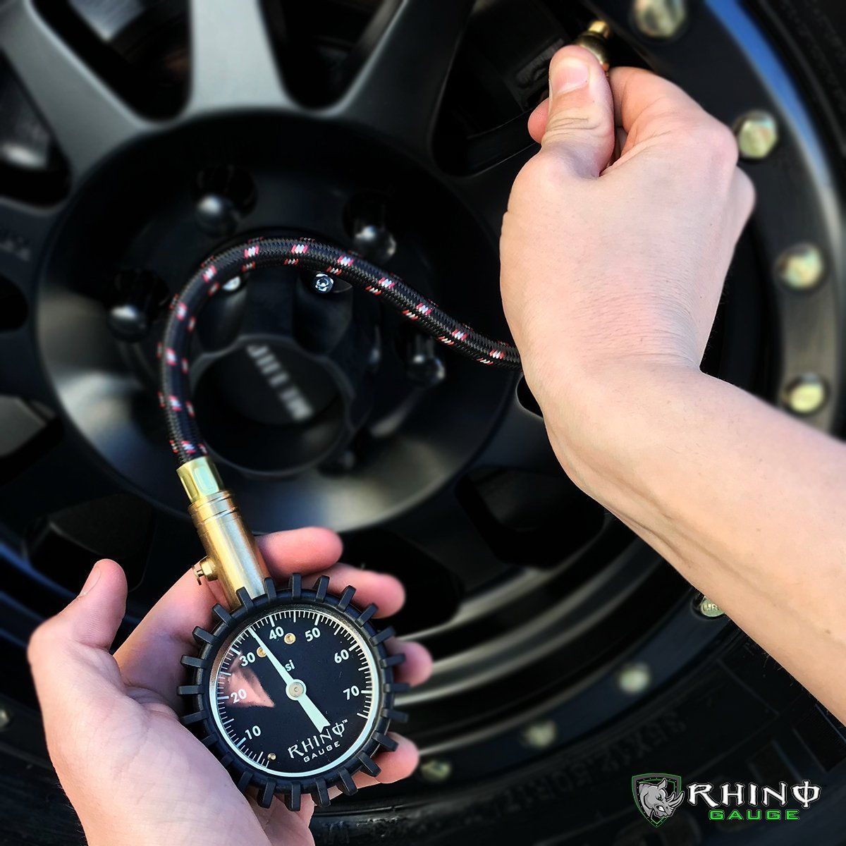 Motorcycle Truck Premium Braided Hose Best for Any Car 0-75 PSI Large 2 Easy Read Glow Dial RV Solid Brass Hardware - Certified ANSI B40.1 Accurate Rhino USA Heavy Duty Tire Pressure Gauge