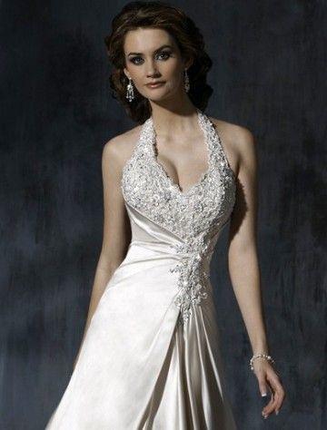 wedding dresses wedding dresses lace wedding dresses short 2014 style empire halter court trains sleeveless satin wedding dress for brides
