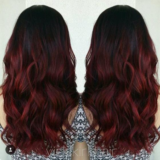 Coloration ombré hair rouge en 2019 Couleur pour brune