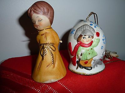 2 Keepsake Collectible JASCO PORCELAIN BELLS Xmas Chimes & ANGEL1978 & 1980