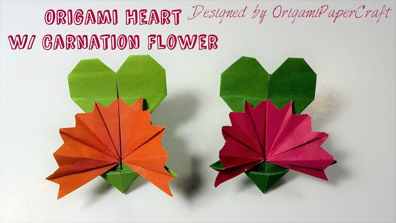 Origami Heart With Carnation Flower Mother S Day Origami Arte Japonesa Origami Arte