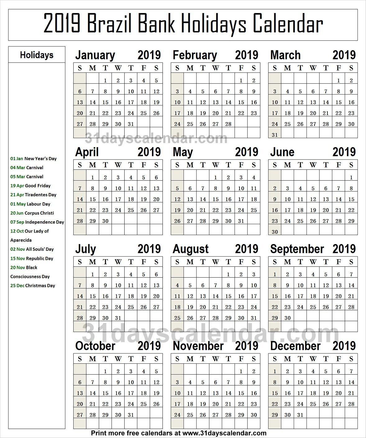 Brazil National Holidays 2019 Calendar Holiday Calendar Bank