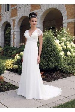 A Line V Neck Empire Waist Cap Sleeves Long Wedding Dresses