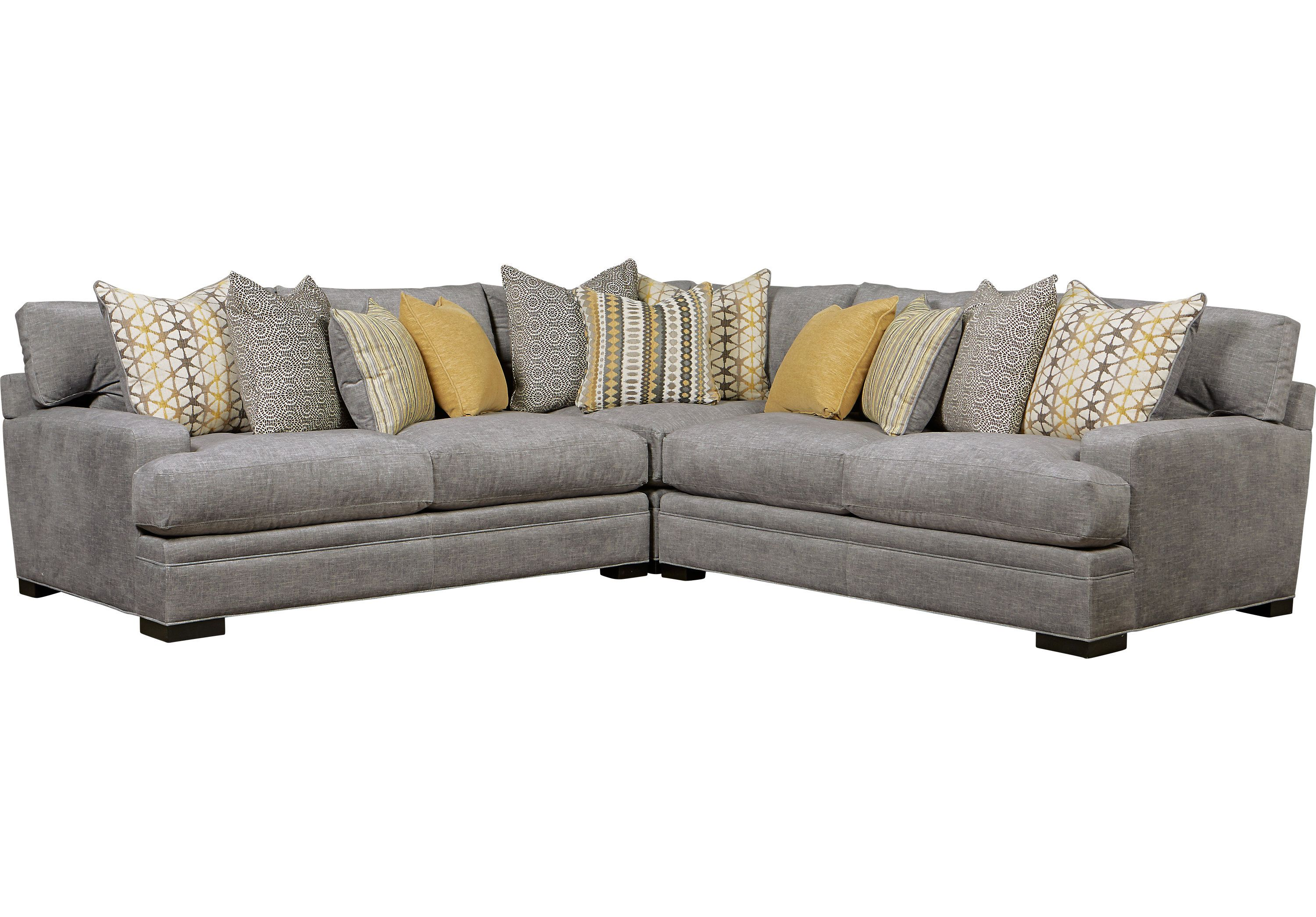 Cindy Crawford Home Palm Springs Gray 3 Pc Sectional Sofas