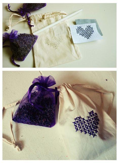 Lavendelsäckchen Besticken Sticken Kreuzstich Stickvorlagen