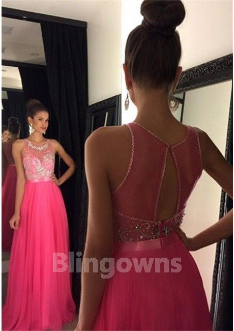 Open Back Scoop Pink A-line Crystals Sleeveless Floor Length Chiffon Ruched  Homecoming / Prom