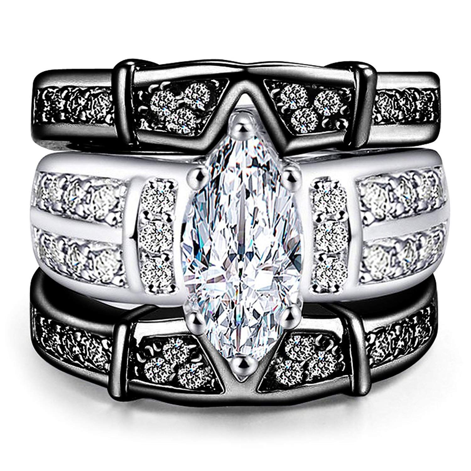 AMiERY Women's Engagement Wedding Band Rings Sets Jewelry