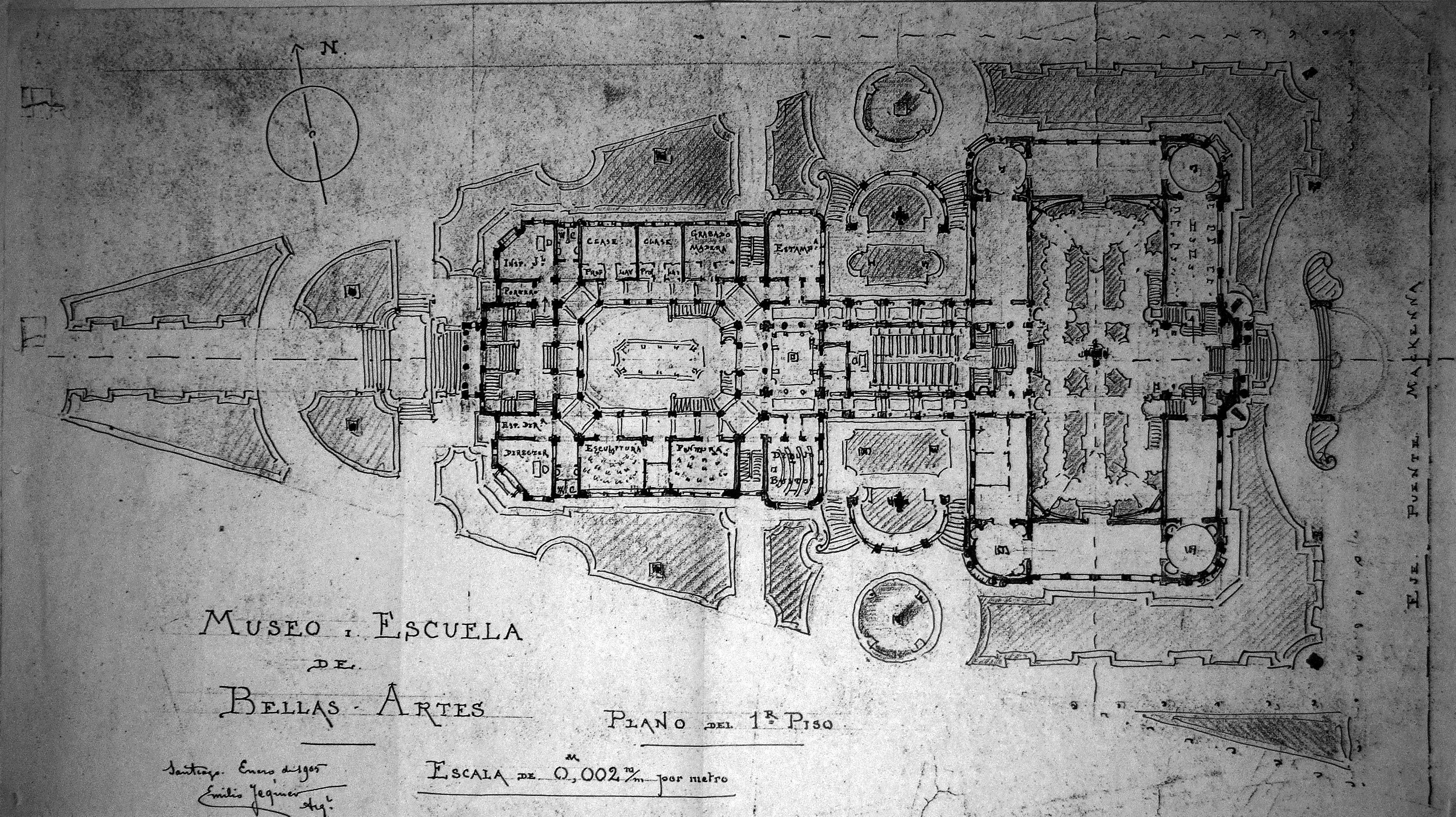 Autor emilio jecquier t cnica plano de arquitectura for Plantas de arquitectura