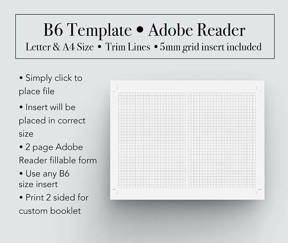 b6 template booklet template b6 printable insert b6 booklet