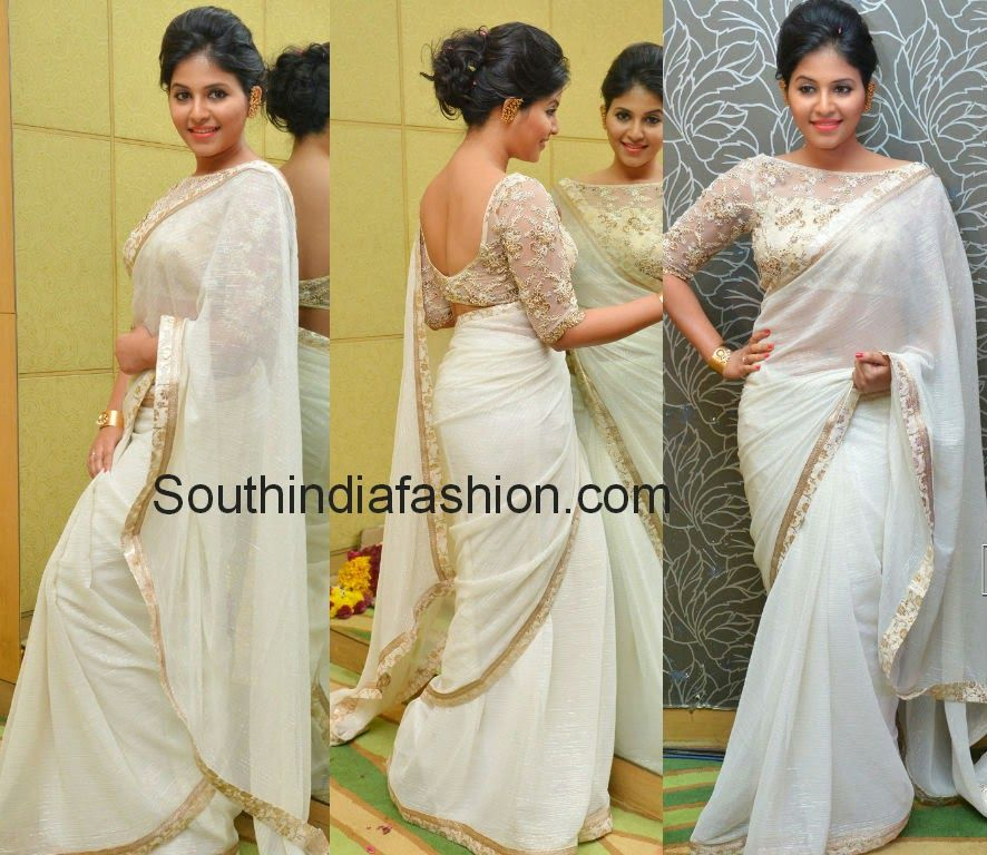 30d347c0cf94b Actress Anjali sported off white shimmer crushed chiffon plain saree with gold  border followed by off white brocade border