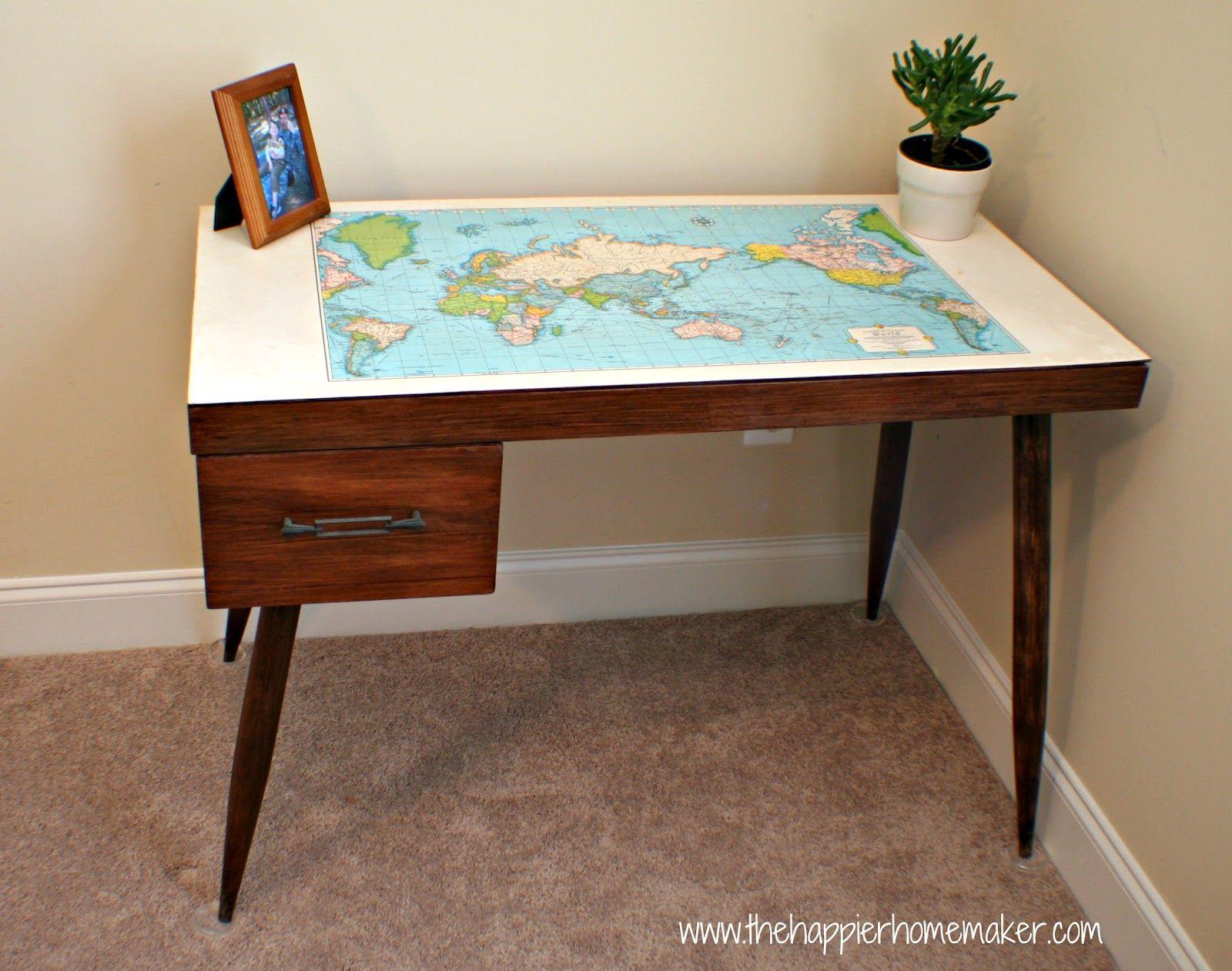Vintage map desk makeover stuff pinterest vintage maps desk vintage map desk makeover gumiabroncs Choice Image