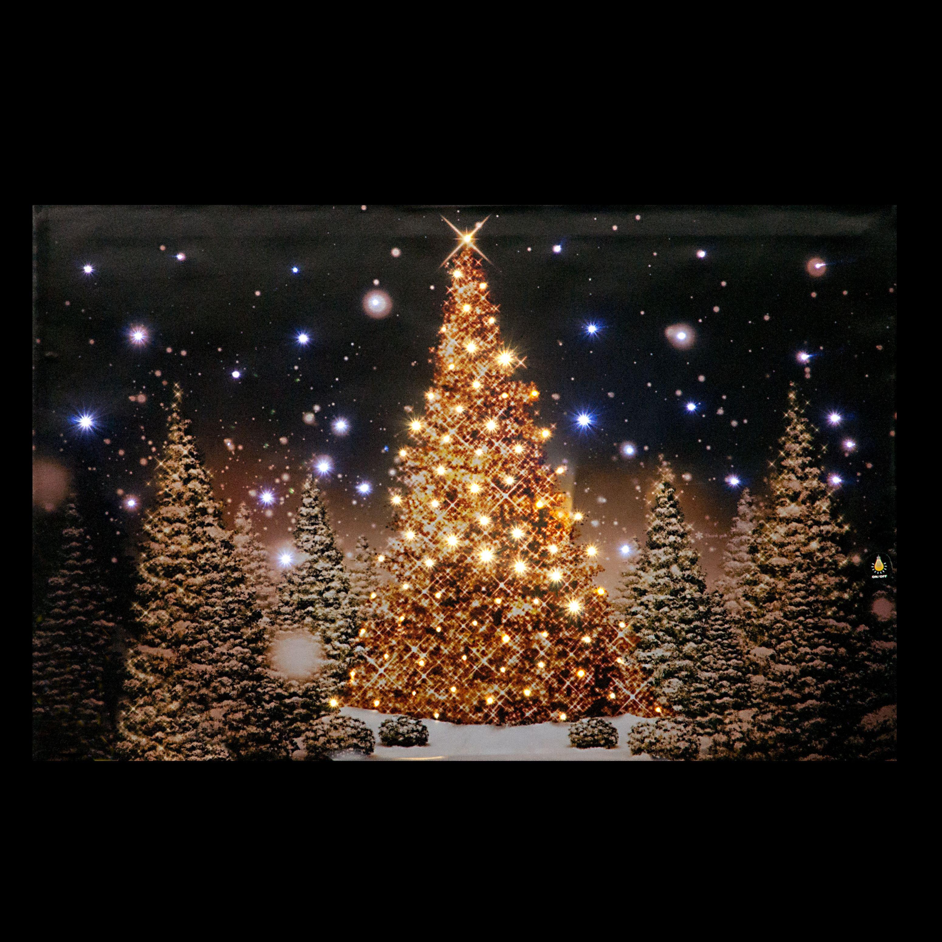 christmas tree scene fibre optic lit wall canvas battery operated ukchristmasworld barnsley