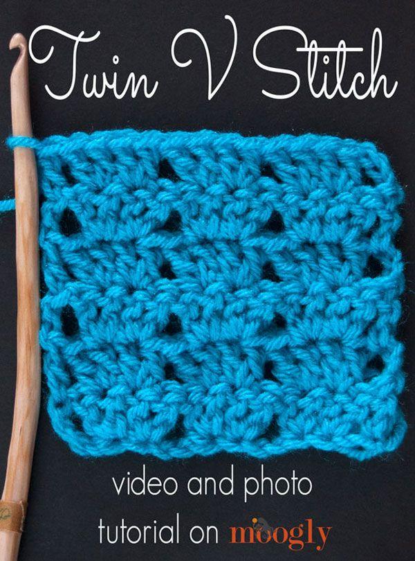 Twin V Stitch Crochet Tutorial | Crochet | Pinterest