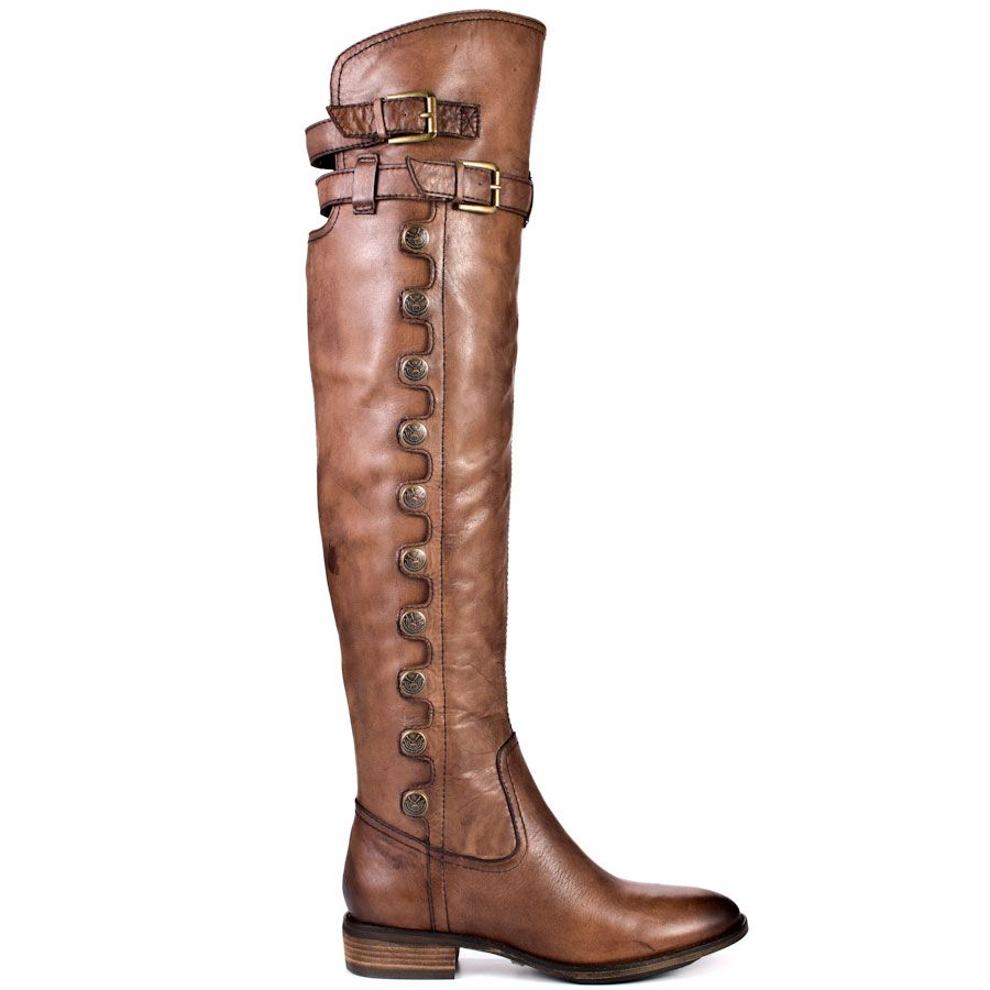 These thigh high boots from Sam Edelman are perfect for everything from a night out on the town to everyday wear! Pierce is an over the knee boot in whisky leather featuring a short, 1 inch block heel and a rounded toe. An open back covered by three adjustable straps perfects these versatile thigh high boots.