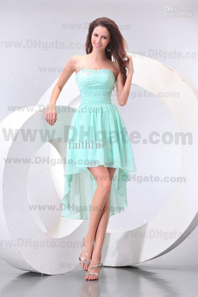 Aqua High Low Homecoming Dresses Chiffon Strapless Zipper Pleated ...