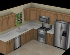 Kitchen  Awesome L Shape White Marble 10X10 3D Kitchen Plan With Amazing Kitchen 3D Design Inspiration