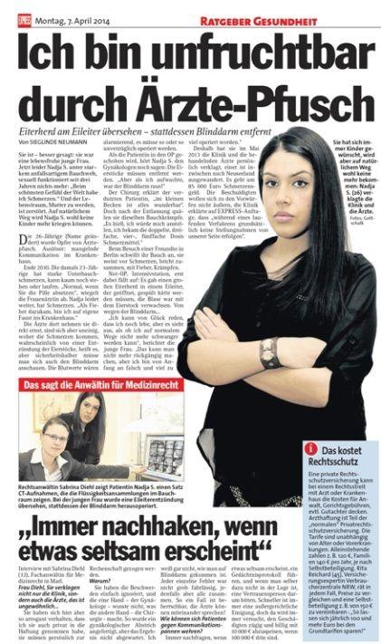 Express vom 07.04.2014 - Ich bin unfruchtbar durch Ärzte