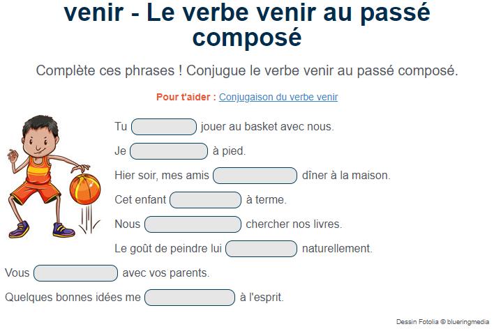 Exercice De Conjugaison Le Verbe Venir Au Passe Compose Practice