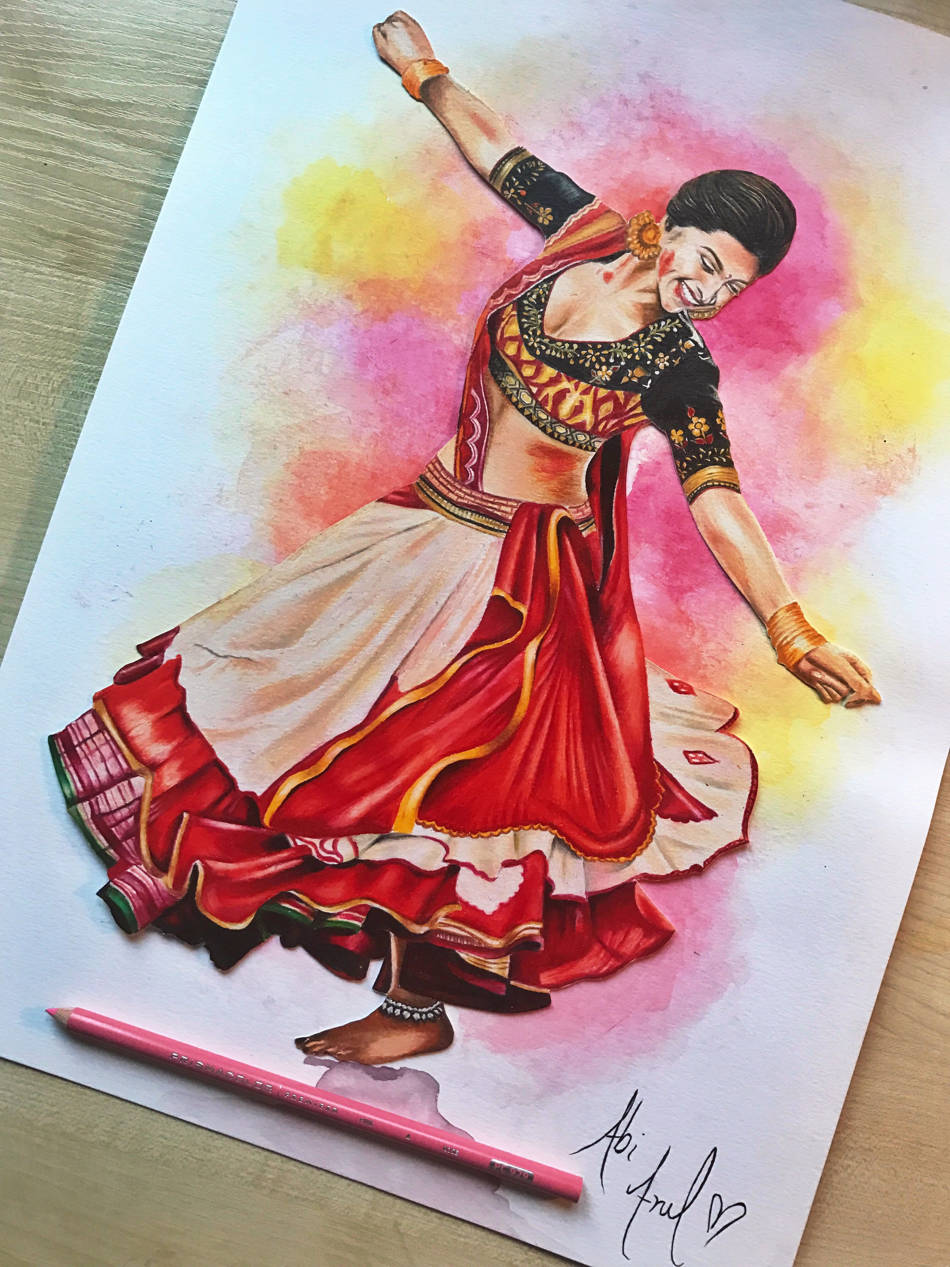 Deepika padukone ram leela drawing prismacolors colouring pencils