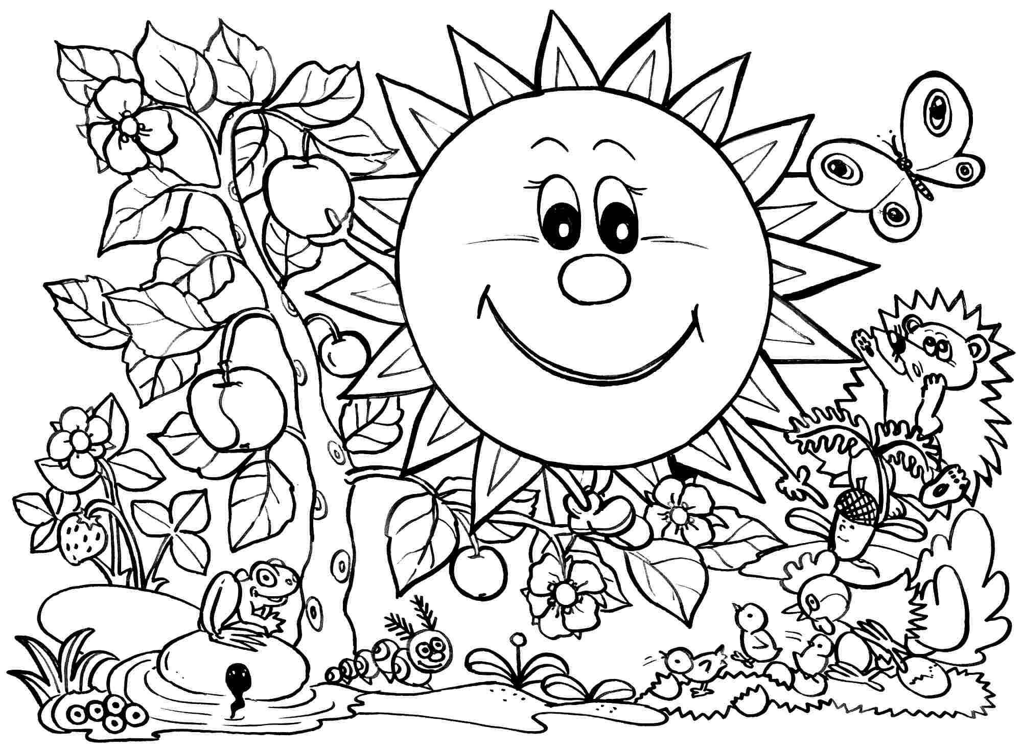 Kindergarten spring coloring sheets - Spring Coloring Pages