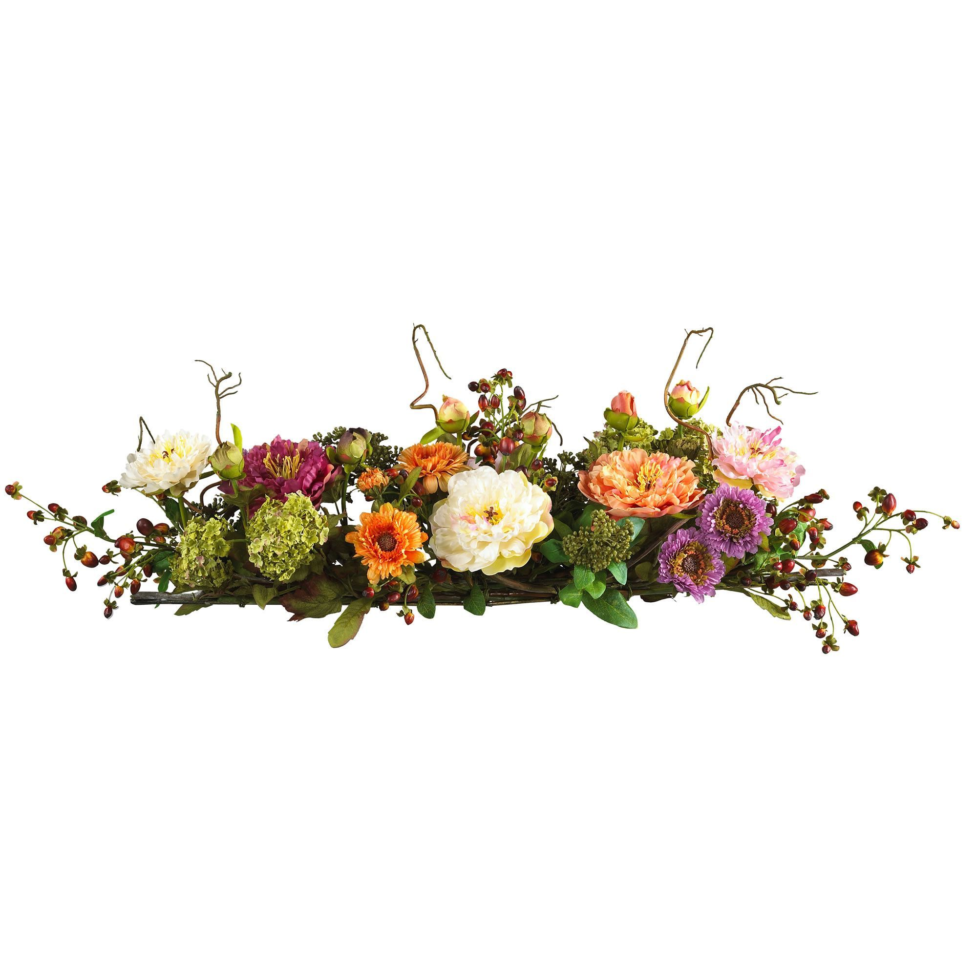 Mixed Peony Centerpiece Silk Flower Arrangement Products