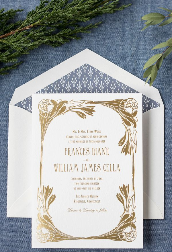 Please Wait Art Nouveau Weddings Deco Wedding Invitations Art Nouveau Wedding Invitation