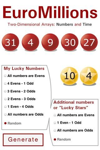 This app helps players to choose numbers for EuroMillions draws. This two dimensional app generating numbers contains an algorithm, UNIQUE I...