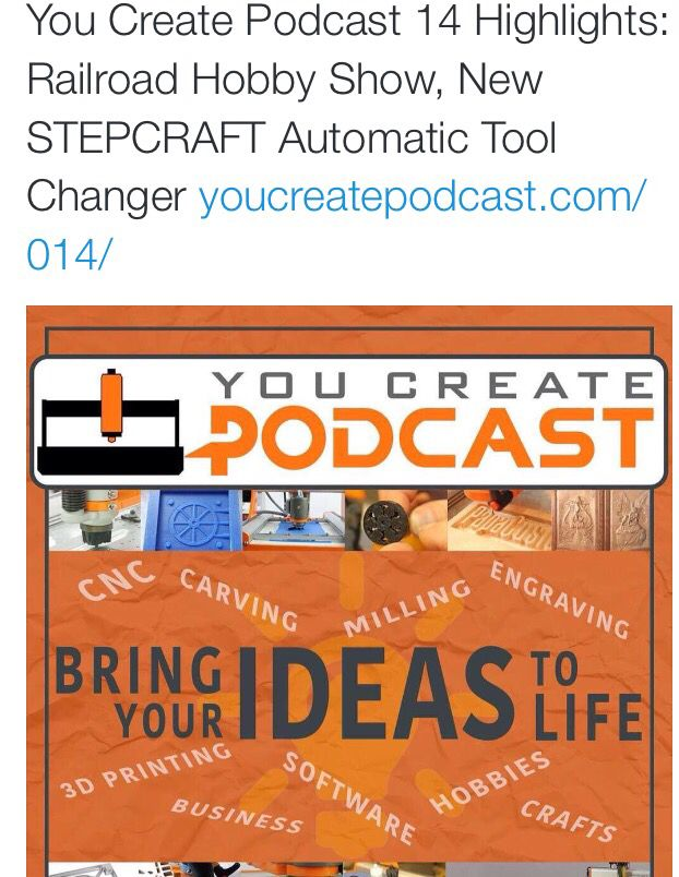 You Create Podcast Episode #014 | Highlights From Railroad Hobby Show | New STEPCRAFT Automatic Tool Changer http://youcreatepodcast.com/014/ http://www.twitter.com/stepcraftinc