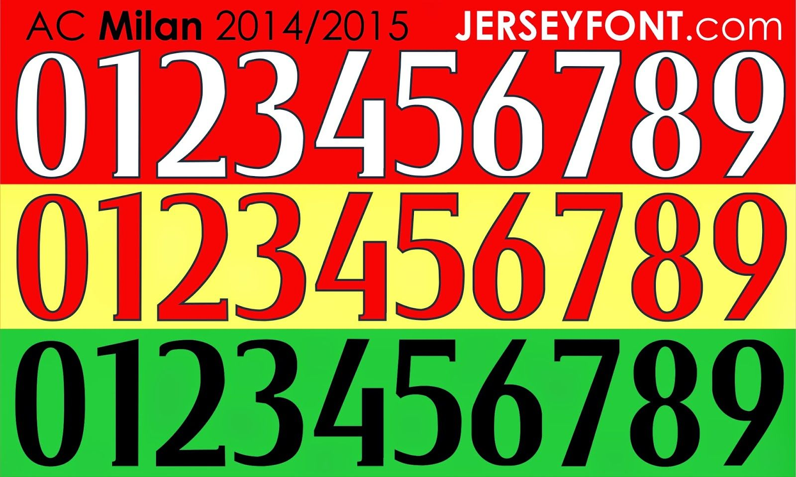 Ac Milan 2014 2015 Font Number Ai File Ac Milan Numbers Font Milan