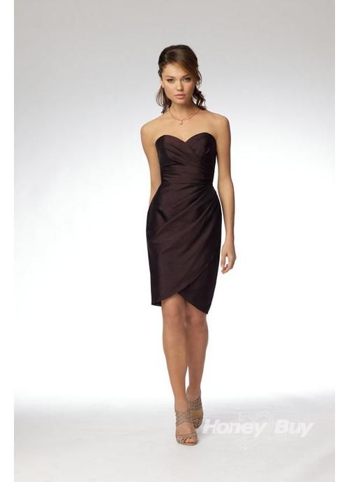 Sweetheart Satin Ruffles Junior Modest Bridesmaid Dresses---HoneyBuy ...