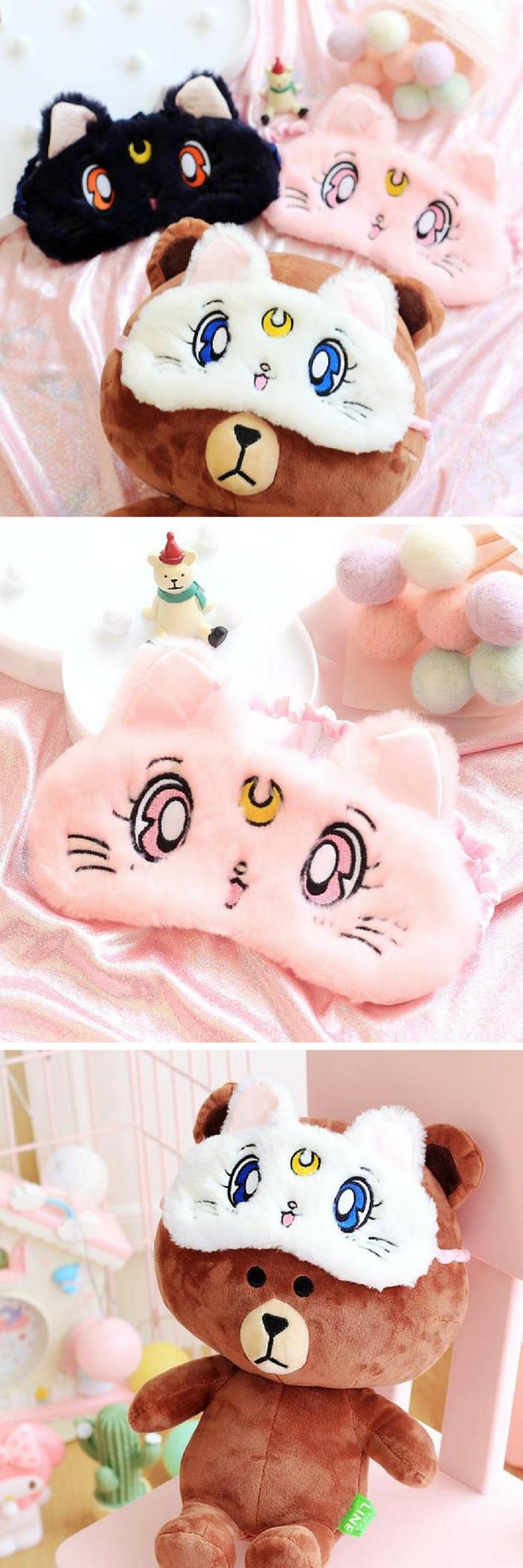Costumes & Accessories Novelty & Special Use Sailor Moon Warrior Luna Cat Plush Eye Mask Anime Glossy Eye Shade Sleep Goggles Cartoon Shading Cat Eye Mask