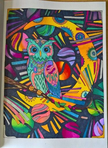 Pin By Sofia Leal On Trapezi Owl Coloring Pages Owl Artwork Colorful Art