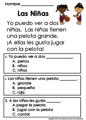 spanish reading comprehension passages mis primeras lecturas para comprension from common core. Black Bedroom Furniture Sets. Home Design Ideas